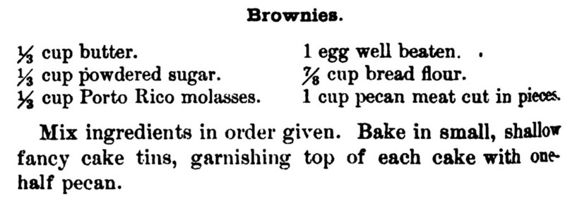 Boston cooking School 1896 Chocolate Bronwies (Molasses Cake)