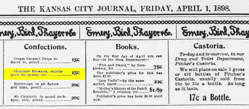 Kansas City Journal 1898 Chocolate Brownies (candies)
