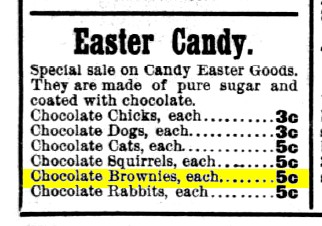 Minneapolis journal 1901 chocolate bronwies (Easter Candies)