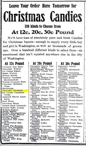 Washington Times 1905 Chocolate Brownies (Christmas Candies)