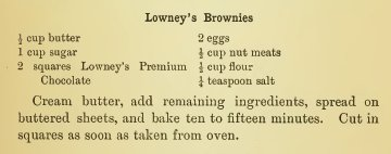 Lowney's Cook book 1907 Lowney's Brownies Recipe