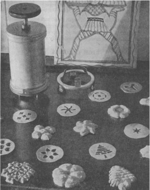 Christmas Cookie Designs from Boston Cooking School Cook Book 1945