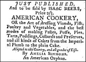Amelia Simmons 1796 American Cookery cook book advertisement
